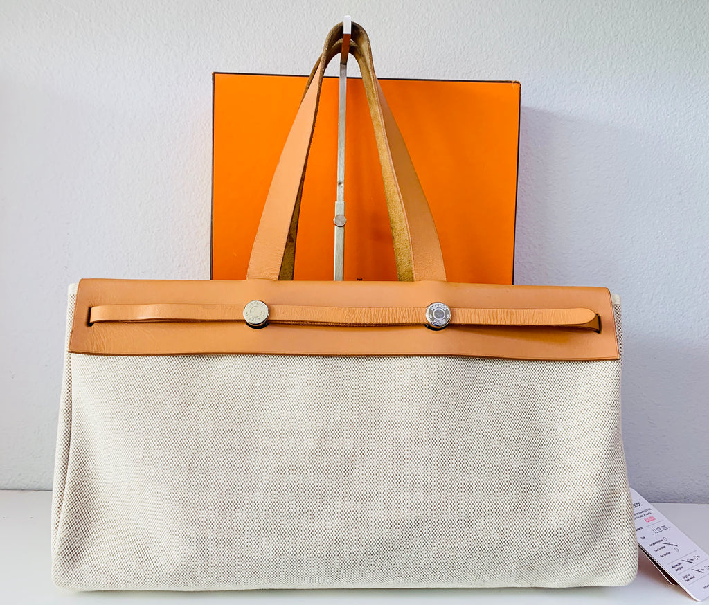 HERMÈS Herbag Beige Canvas Brown Leather Bag