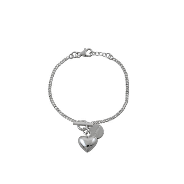 Von Treskow - Curb Chain Bracelet With VT Toggle & Heart - Silver