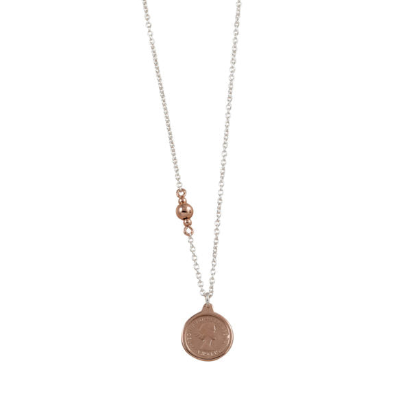 Fine Two Tone Rose Threepence Necklace