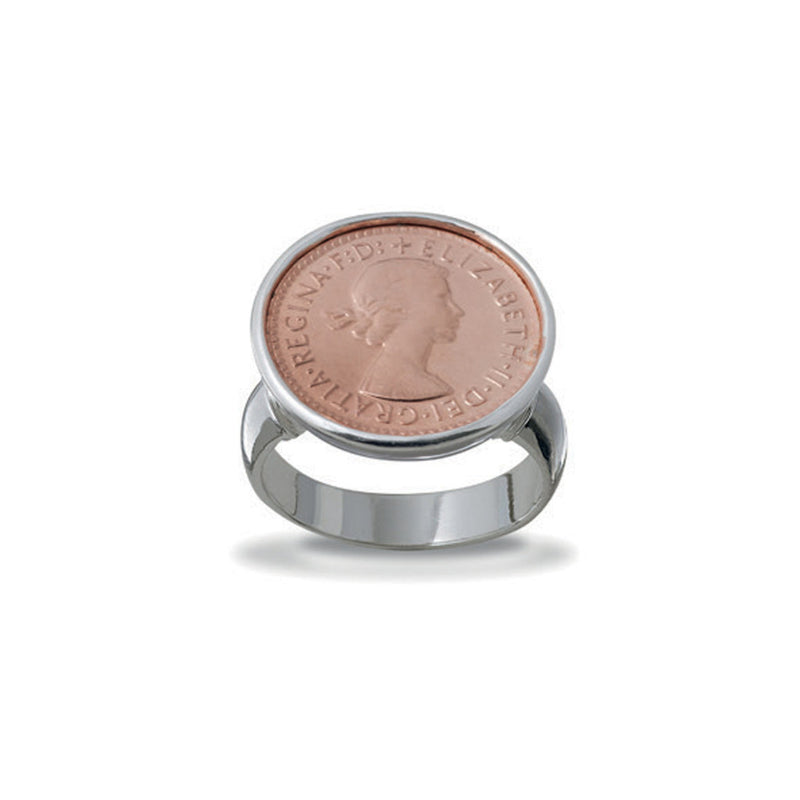 VON TRESKOW - THREE PENCE COIN RING ROSE