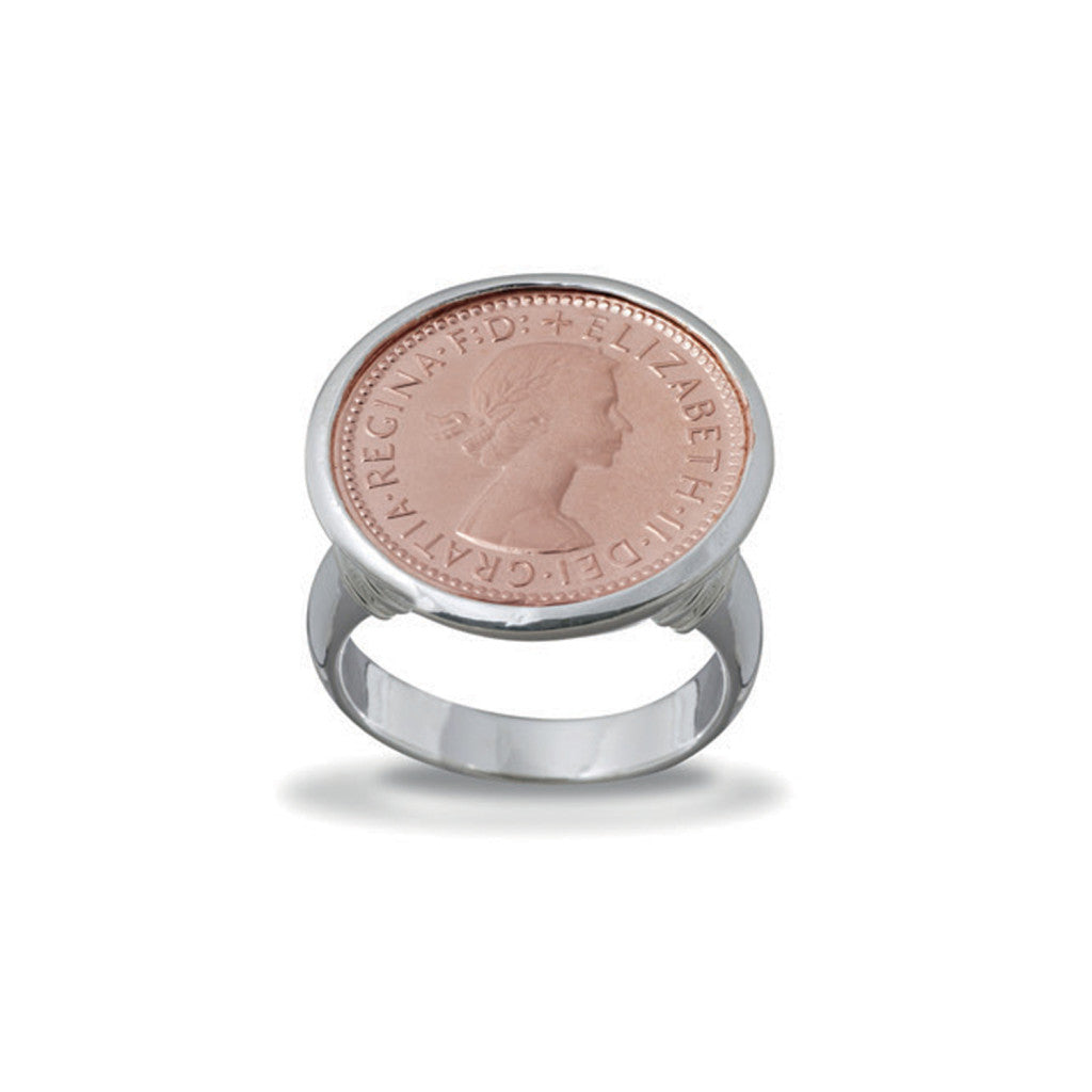 SIX PENCE COIN RING ROSE