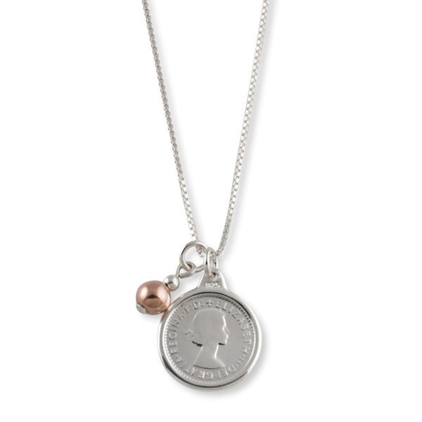 Von Treskow - Box Chain Threepence Necklace With Ball - Silver/Rose