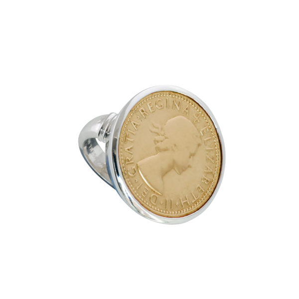 Two Tone Shilling Coin Ring - Yellow/silver