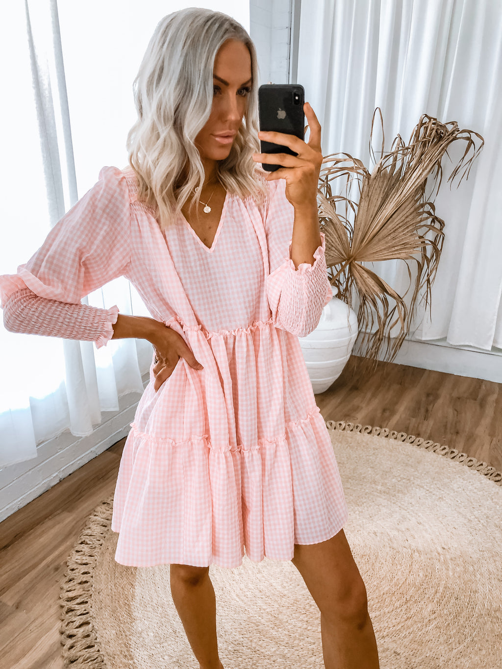 Zollie Dress - Pink Gingham