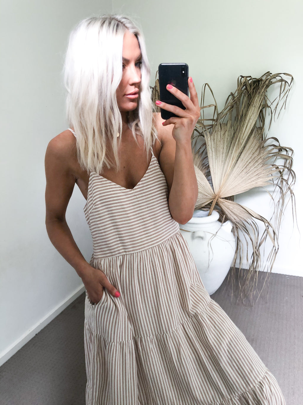 Kayla Dress - Sand Stripe