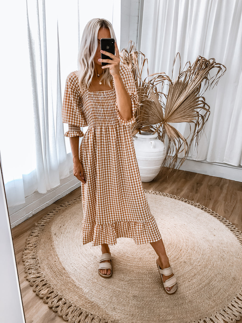 Sedina Dress - Caramel Gingham
