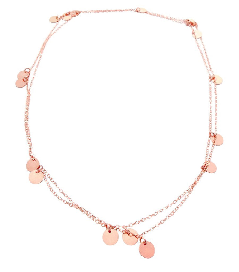 MISUZI - THE NEVA LONG MINI DISC NECKLACE - ROSE GOLD