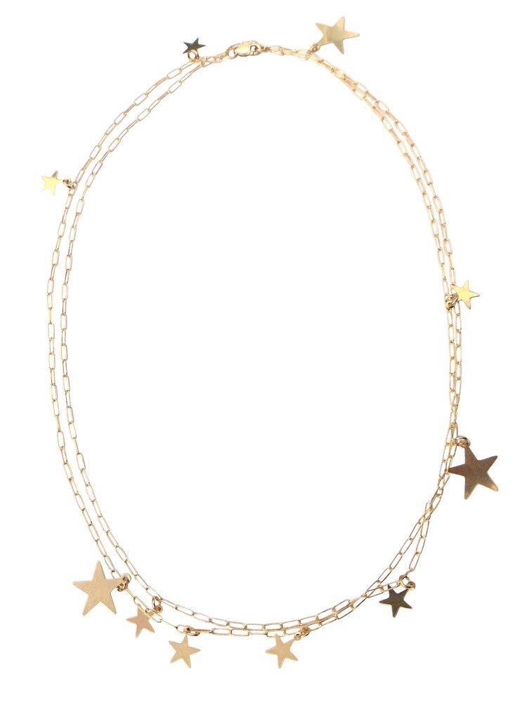 MISUZI - THE STEVIE MULTI STAR DISC NECKLACE - GOLD