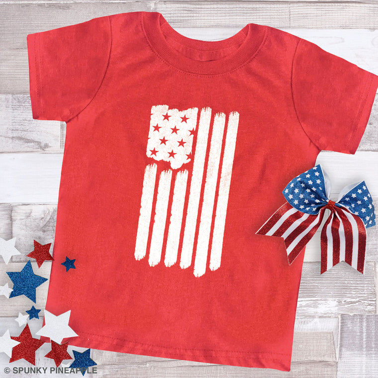 America Flag Toddler Jersey Tee