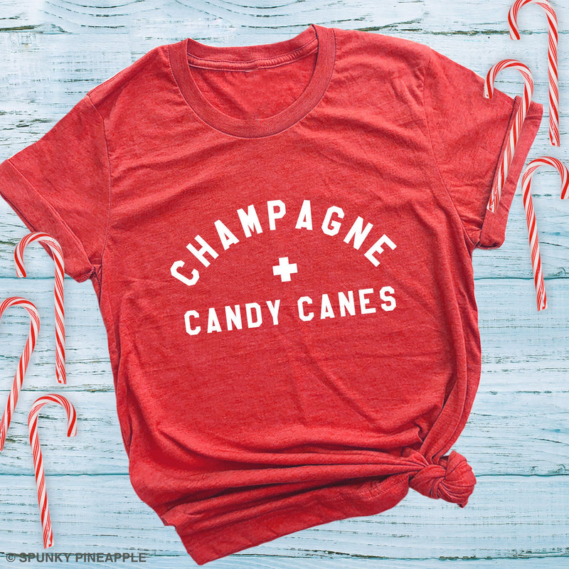 Champagne & Candy Canes Cute Festive Christmas Shirt
