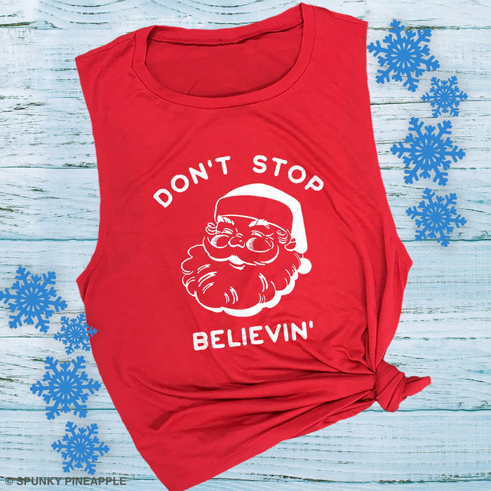 Don't Stop Believin' Cute Funny Christmas Santa Tank Top Shirt
