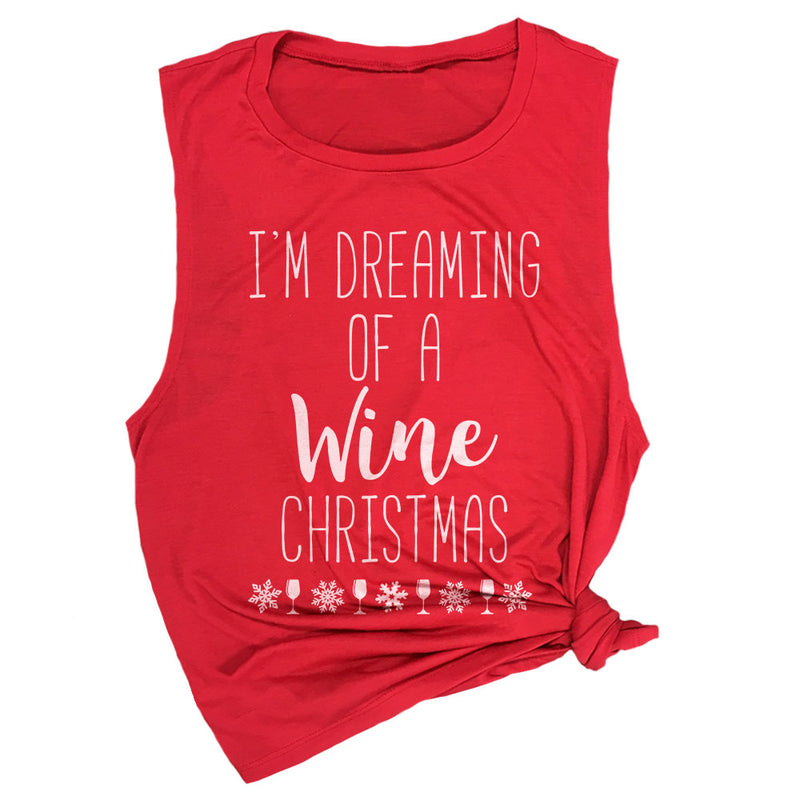 I'm Dreaming of a Wine Christmas Muscle Tee