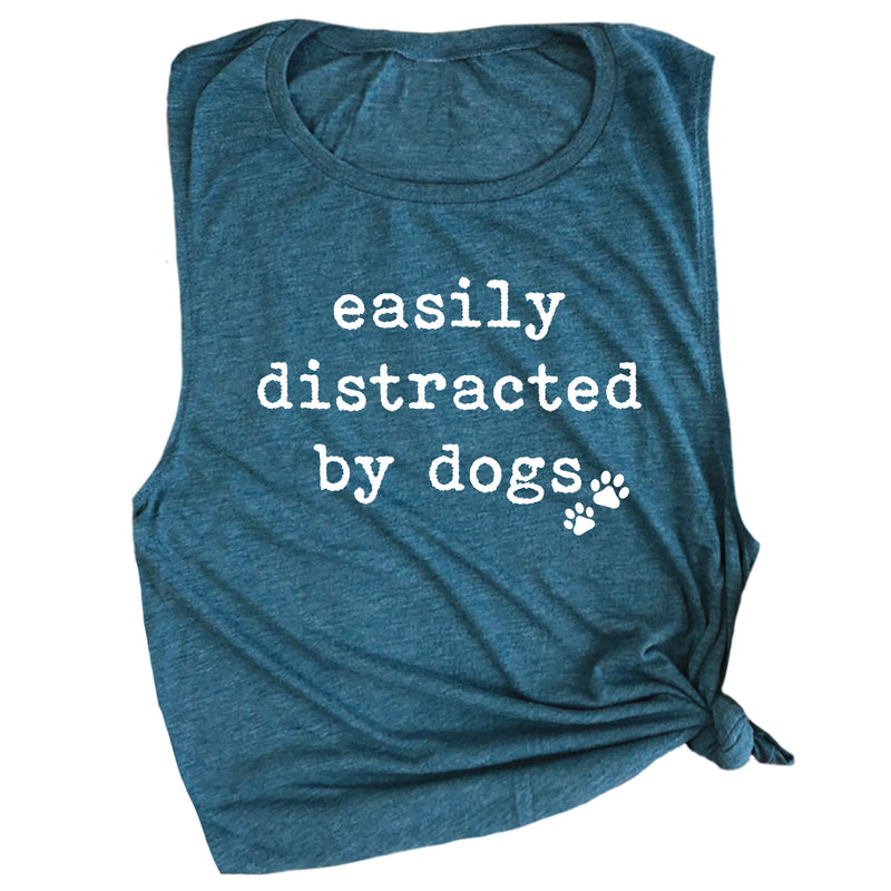 Easily Distracted by Dogs Muscle Tee