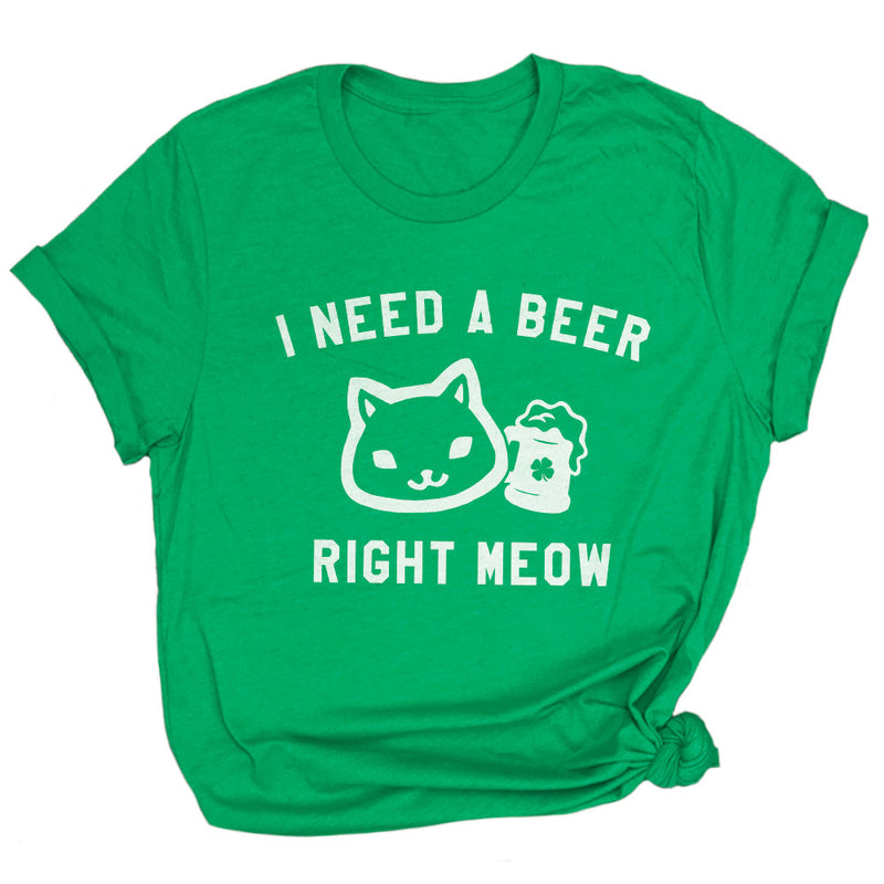 Need Beer Right Meow Funny Kitten St Paddys Day T-Shirt