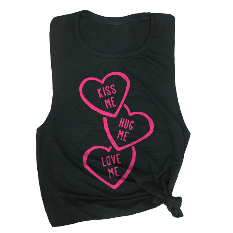Kiss Me Hug Me Love Me Muscle Tee