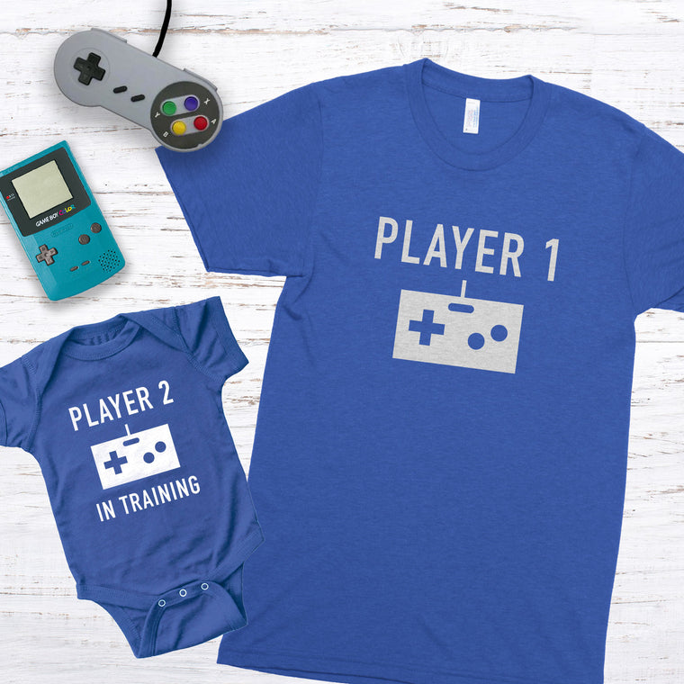 Player 1 & Player 2 in Training Premium Unisex T-Shirt/Infant Bodysuit Shirt Set