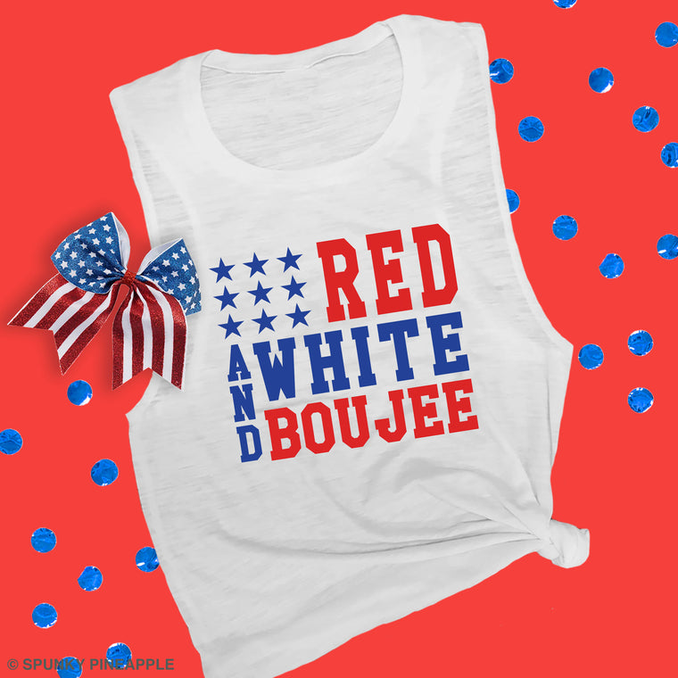 Red, White & Boujee Muscle Tee