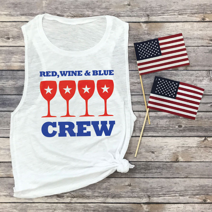 Red, Wine & Blue Crew Muscle Tee