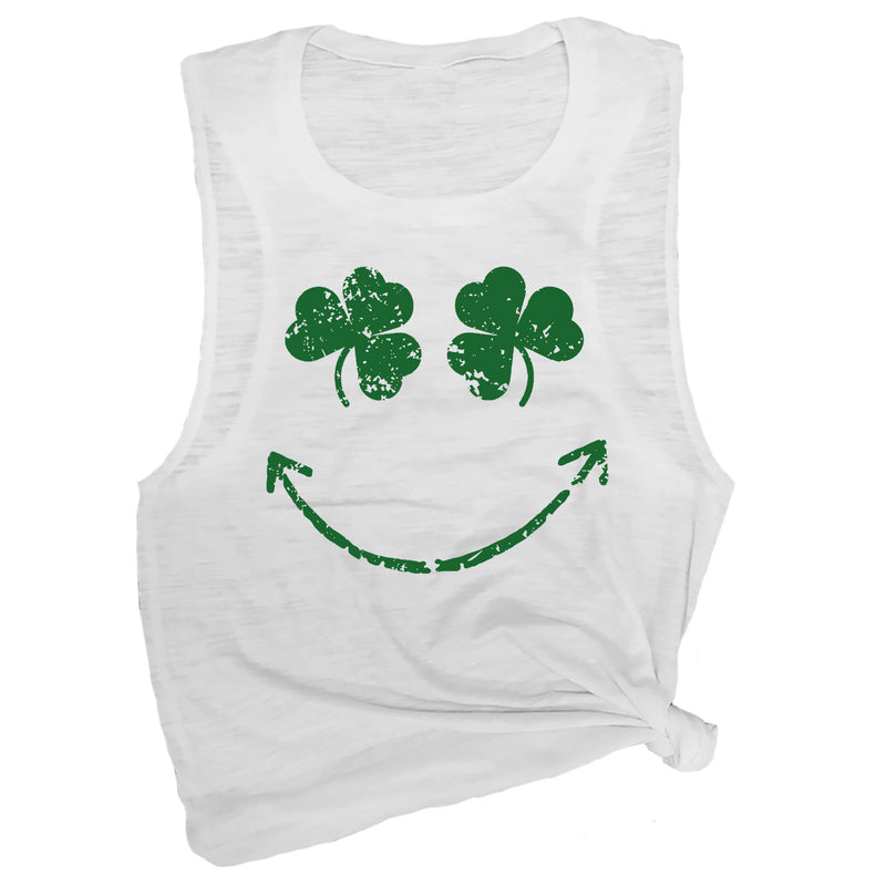Shamrock Smiley Face Muscle Tee