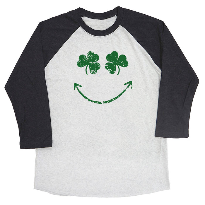 Shamrock Smiley Face Raglan Tee
