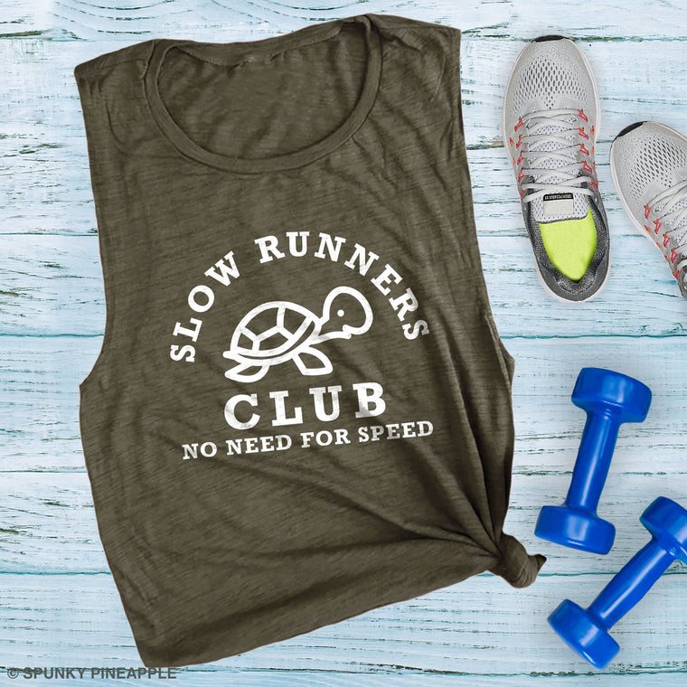 Slow Runners Club No Need for Speed Muscle Tee