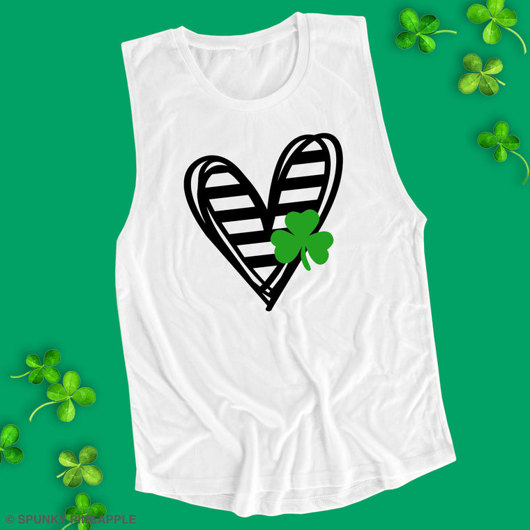 Striped Heart with Clover Muscle Tee