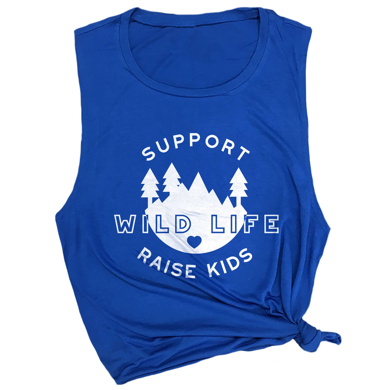 Support Wild Life Raise Kids Muscle Tee