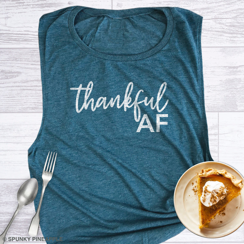 Thankful AF Funny Thanksgiving Shirts for Women