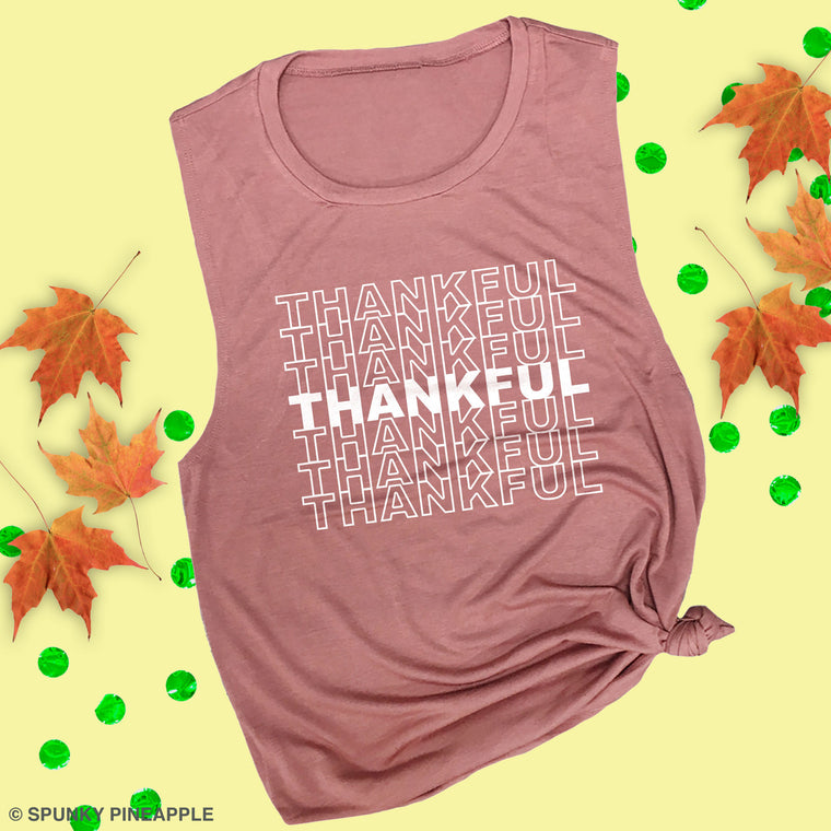 Thankful (Repeated) Muscle Tee