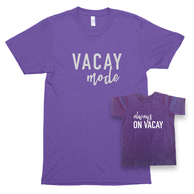 Vacay Mode & Always on Vacay Premium Unisex T-Shirt/Toddler Jersey Shirt Set
