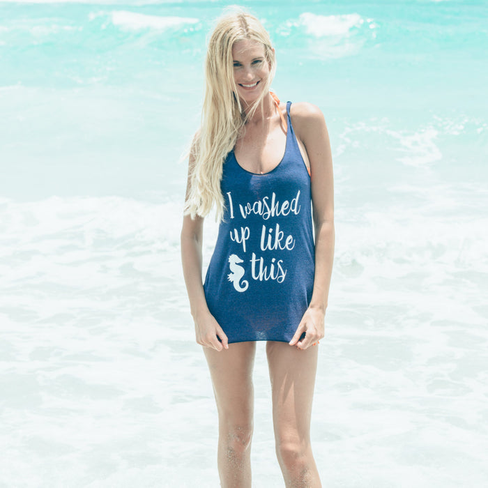 I Washed Up Like This Funny Beach Mermaid Tank Top