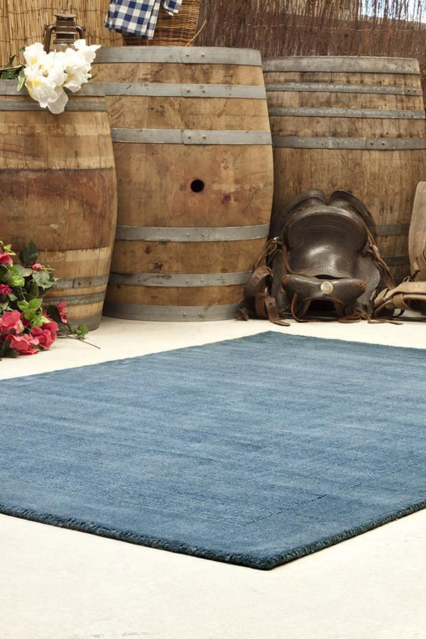 Timeless Loop Wool Pile Petrol Coloured Rug