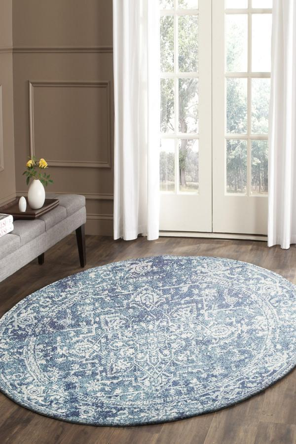 Evoke Muse Blue Transitional Round Rug