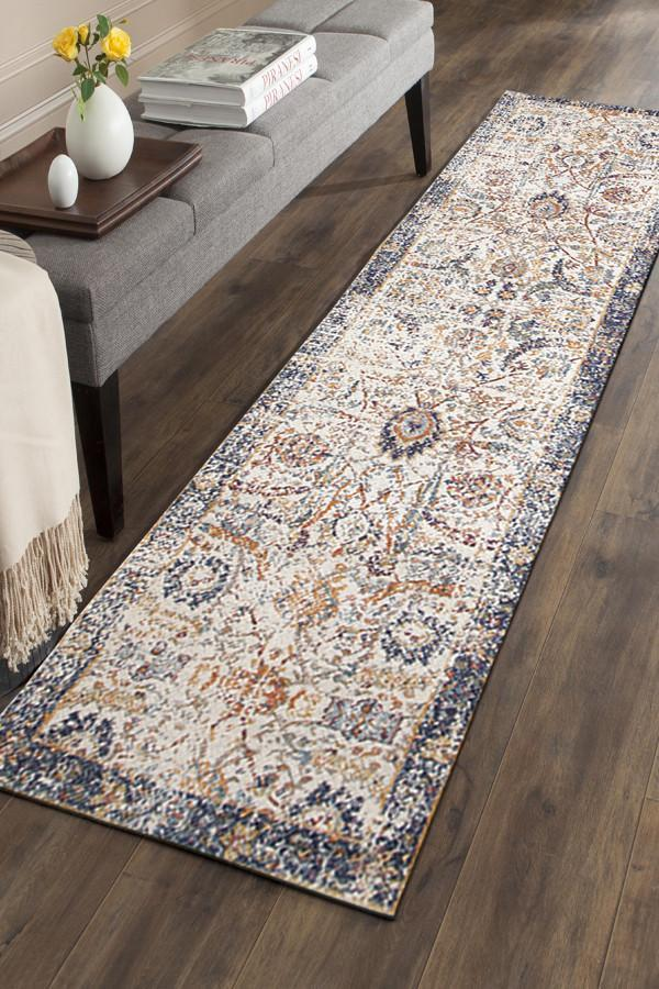 Evoke Peacock Ivory Transitional Runner Rug