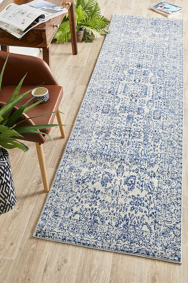 Evoke Frost Blue Transitional Runner Rug