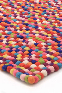 Gumball Felted Wool Unique Textured Ball Design Multi Rug