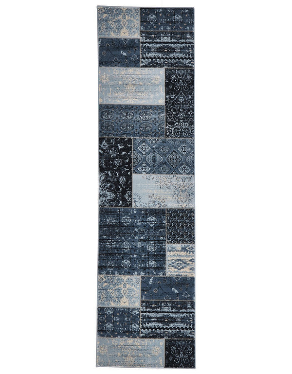 Heirloom Neo Patchwork Designer Blue Runner Rug