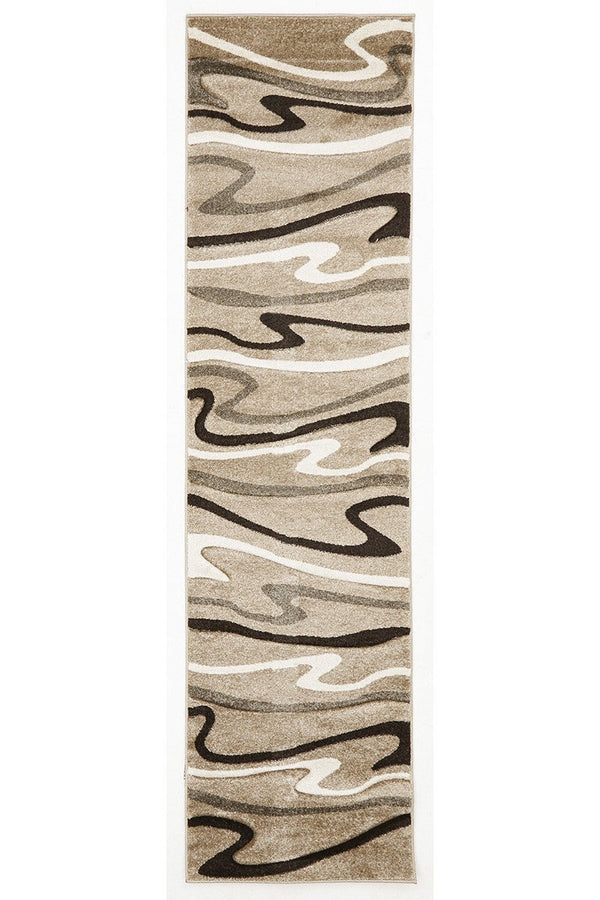 Icon Modern Swirls Runner Rug Beige