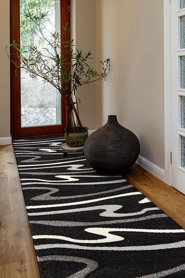 Icon Modern Swirls Runner Rug Black