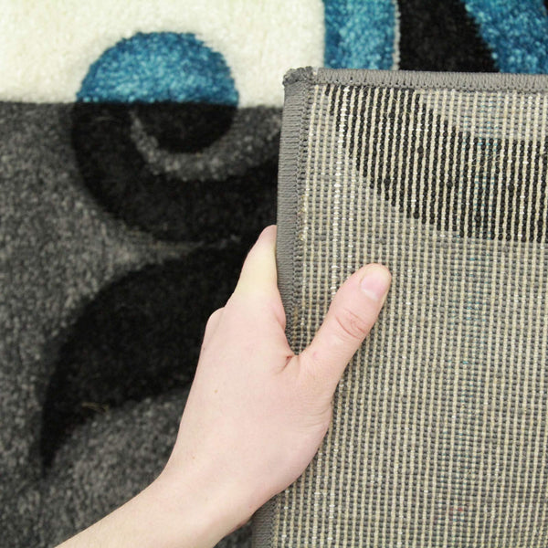 Icon Squares And Vines Runner Rug Charcoal Blue