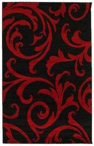 Icon Stunning Thick Damask Rug Black