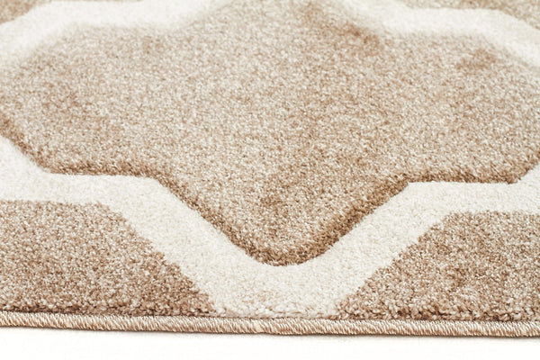 Icon Cross Hatch Modern Runner Rug Beige