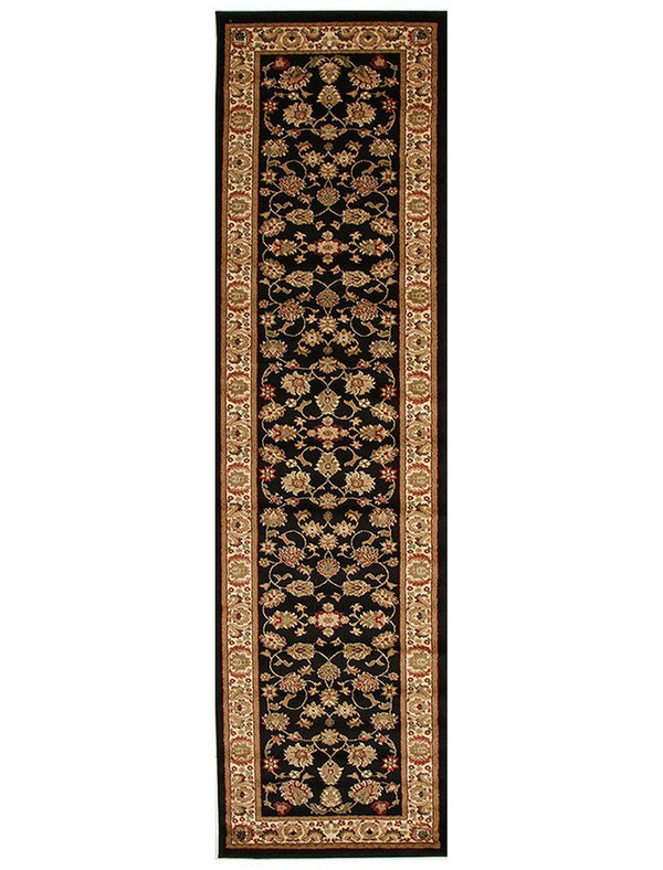 Istanbul Traditional Floral Pattern Runner Rug Black