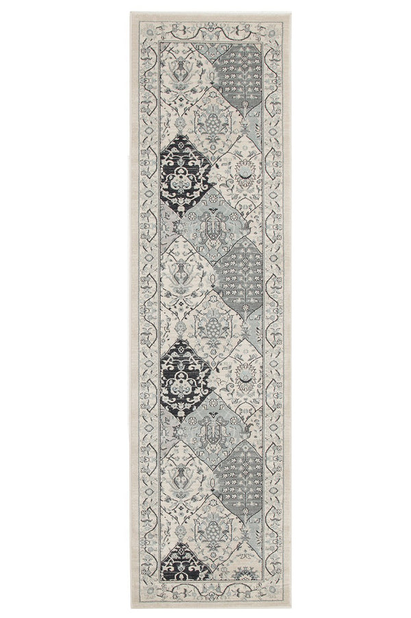Jewel Panel Design 802 Blue Navy Bone Runner Rug