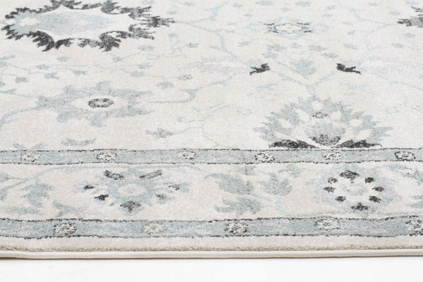 Jewel Nain Design 804 Bone Blue Navy Runner Rug