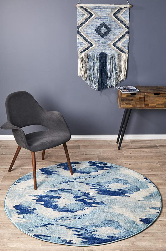 Mirage Lesley Whimsical Blue Round Rug