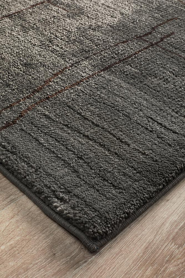 Moroccon Style Paved Design Grey Rug