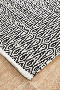 Spirit Austin Textured Modern Rug Black White