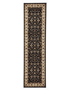 Sydney Classic Runner Black With Ivory Border Runner Rug