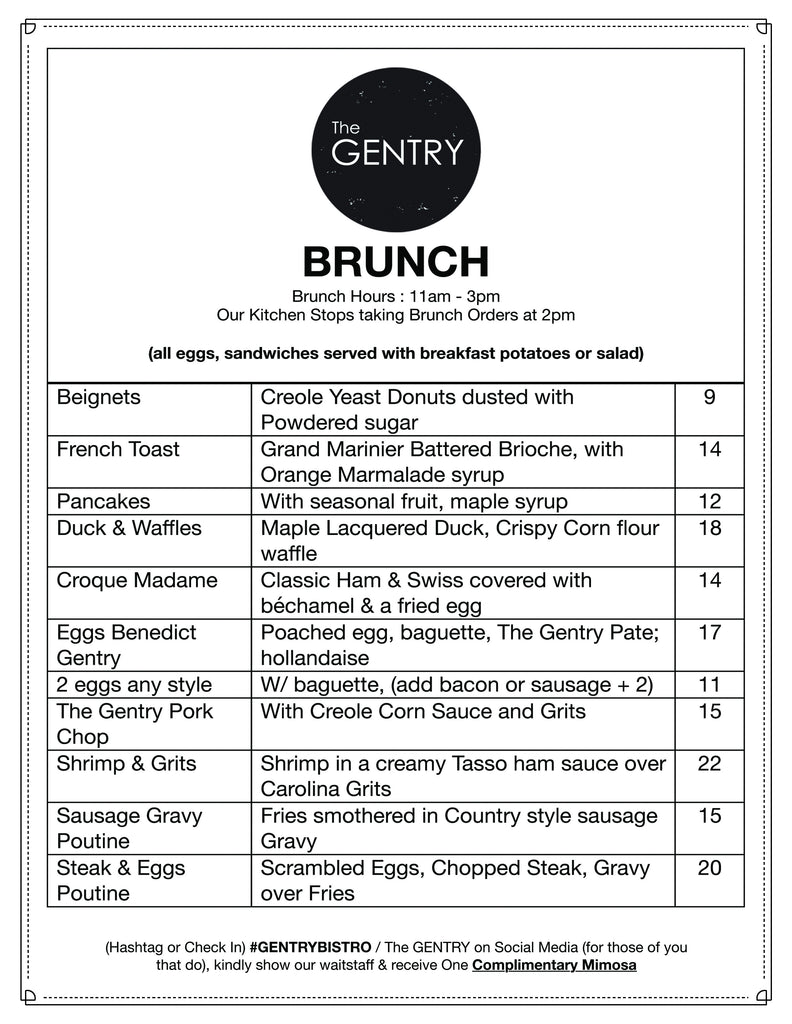 Brunch Menu #GentryBistro